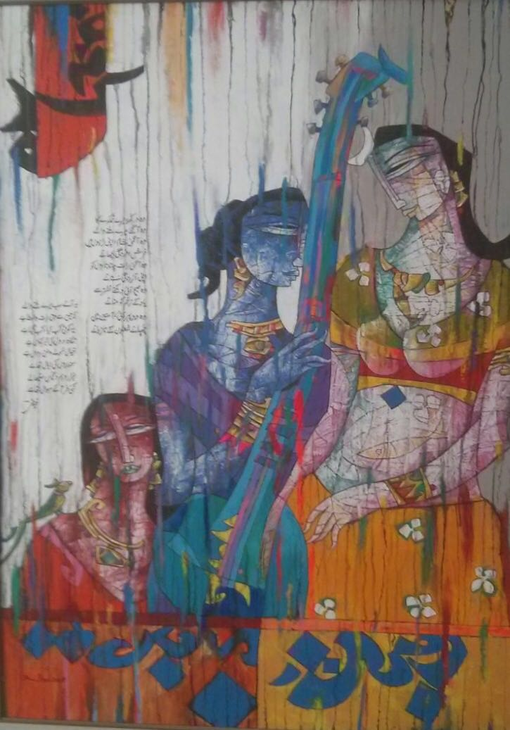 Rind – Rind is famous for his portraits of women in Pakistan adorned with saris and jewelry and contrasted with sonnets by Faiz Ahmad Faiz. The colors are striking and his work is instantly recognizable.